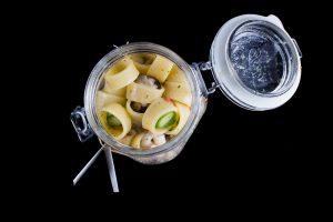 Calamarata pasta with seafood and asparagus